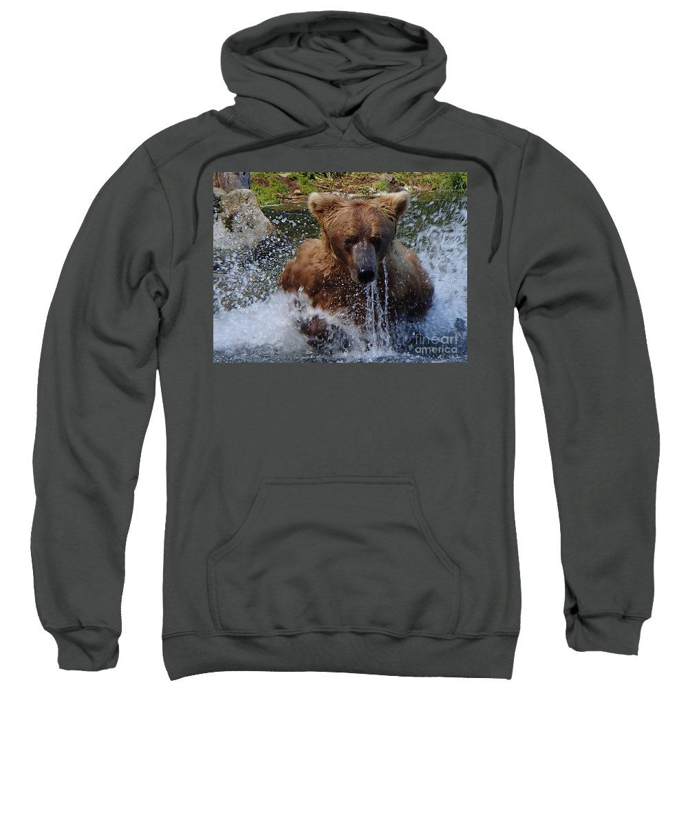 Grizzly Sweatshirt featuring the photograph Fishing by Donna Cain