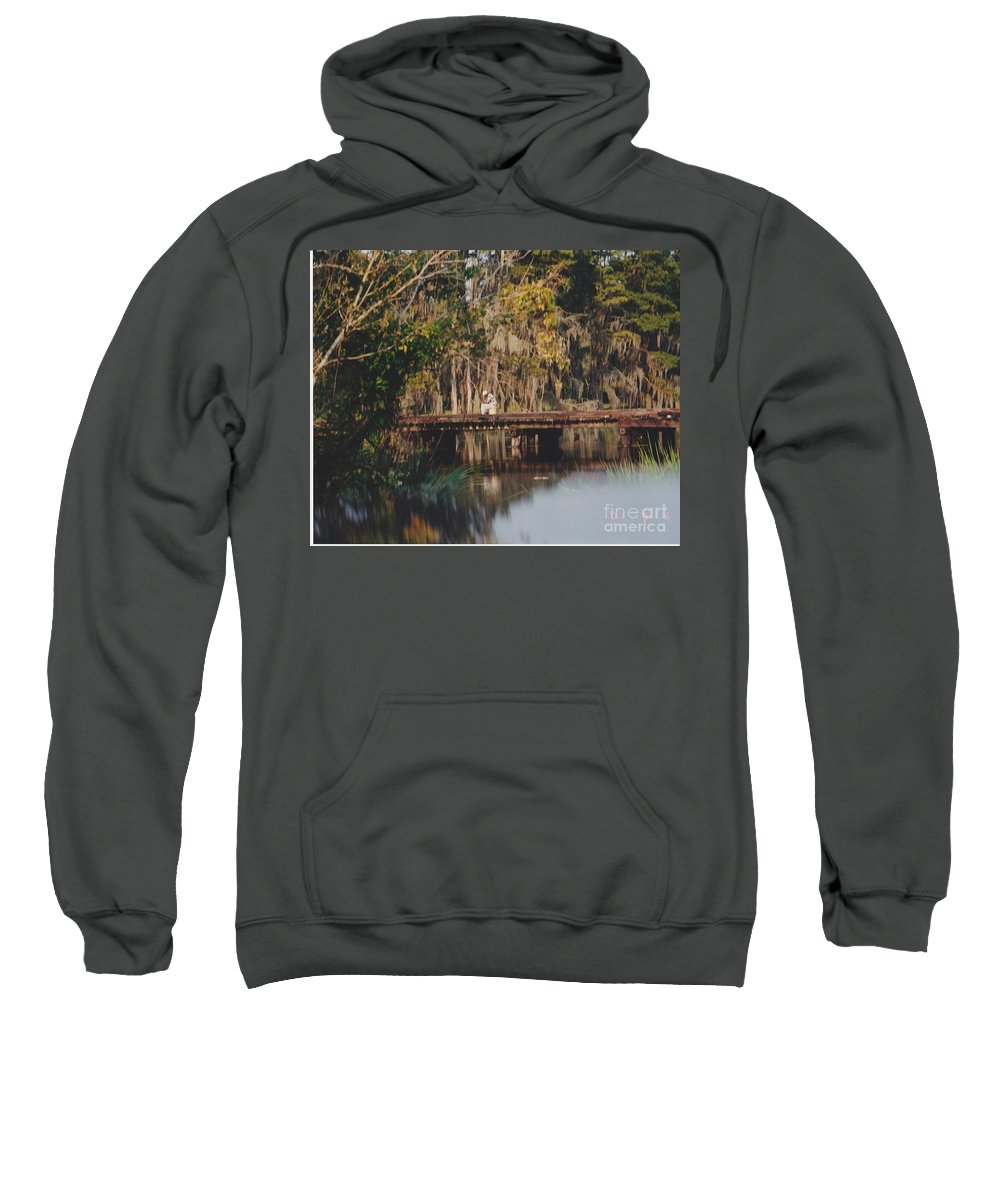 Landscape Sweatshirt featuring the photograph Fishing On The Bridge by Michelle Powell