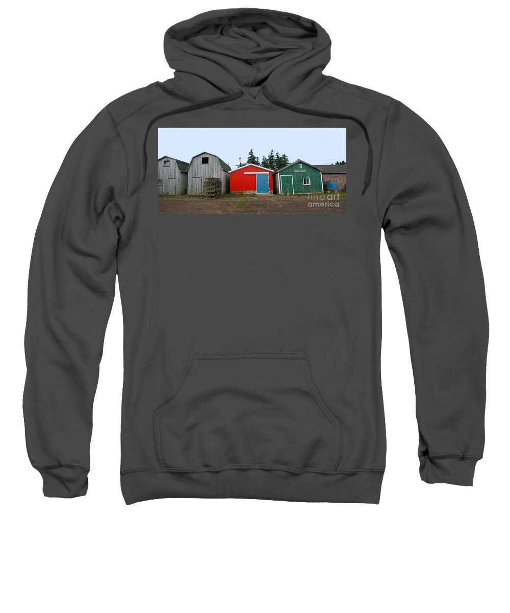Fishing Sweatshirt featuring the photograph Fishing Shacks Prince Edward Island Canada by Thomas Marchessault