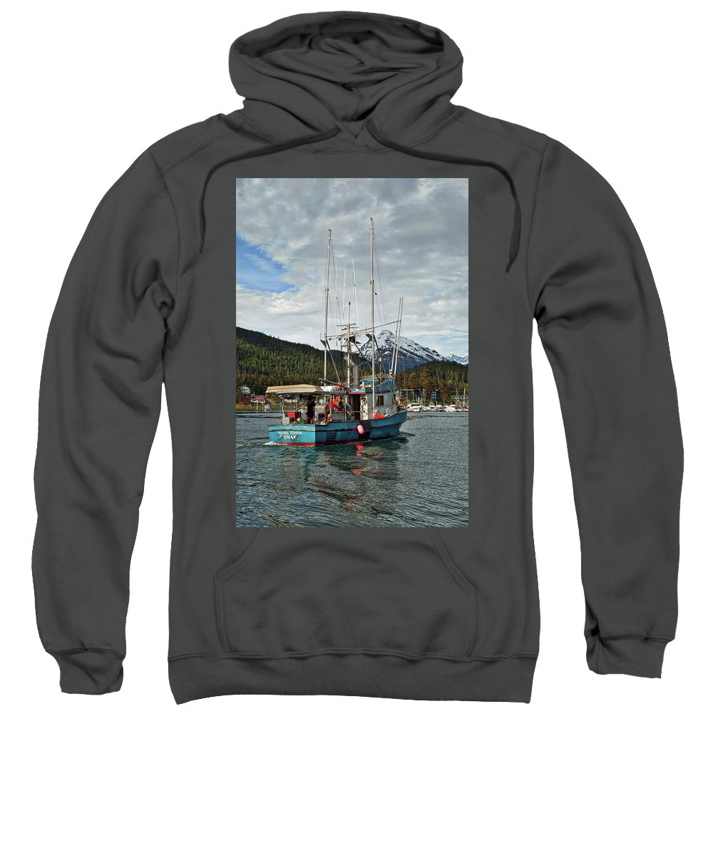 Fishing Boat Sweatshirt featuring the photograph Fishing Vessel Chinak by Cathy Mahnke