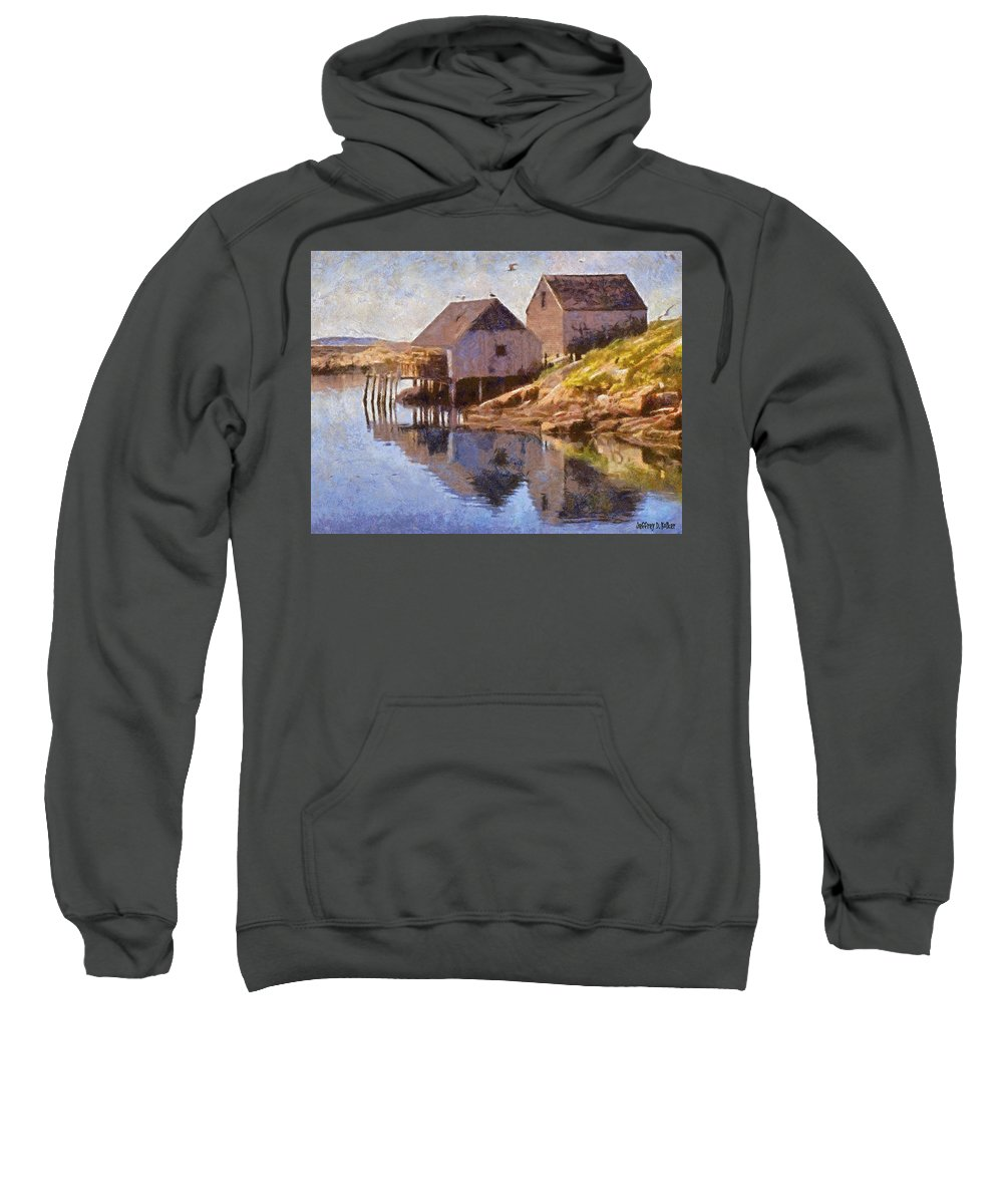 Canadian Sweatshirt featuring the painting Fishing Wharf by Jeffrey Kolker