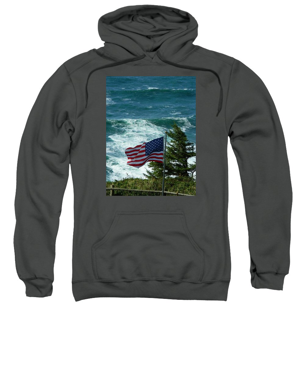 Oregon Sweatshirt featuring the photograph Flag Flying by Gallery Of Hope