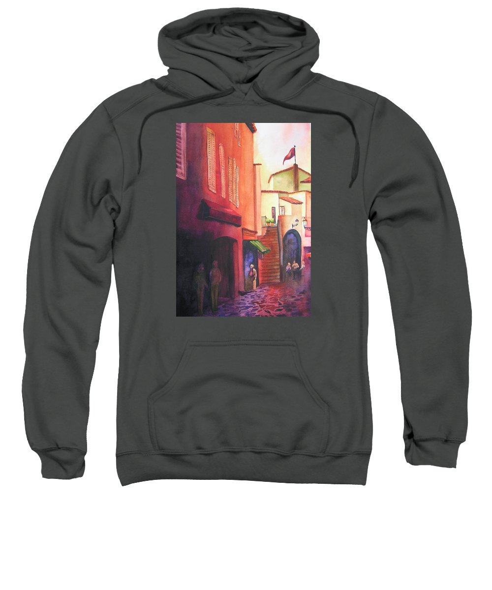 Europe Sweatshirt featuring the painting Flag Over St. Tropez by Karen Stark