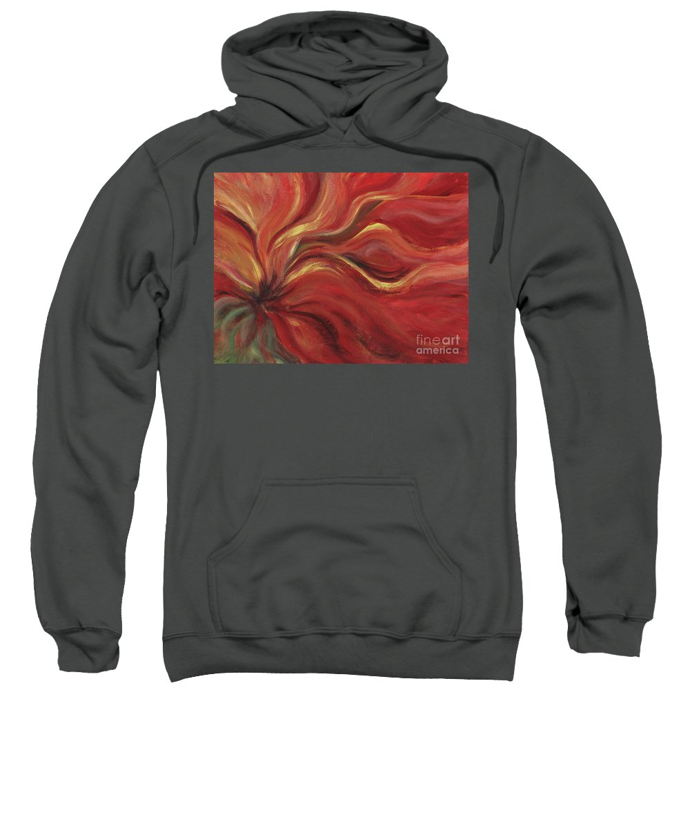 Red Sweatshirt featuring the painting Flaming Flower by Nadine Rippelmeyer