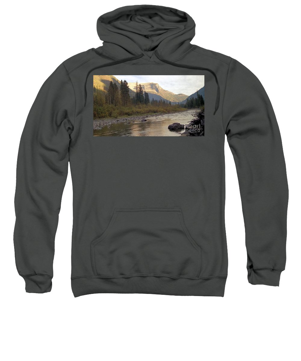 Flathead River Sweatshirt featuring the mixed media Flathead River by Richard Rizzo