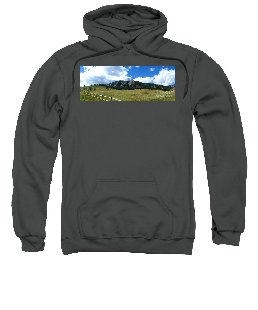 Flatiron Sweatshirt featuring the photograph Flatirons Panorama by Thomas Marchessault