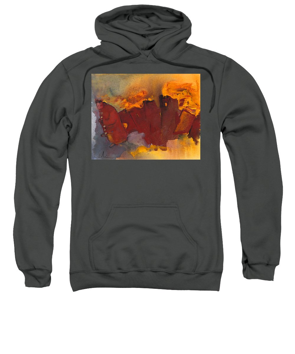 Fantasy Sweatshirt featuring the painting Fleeing The Inferno by Miki De Goodaboom