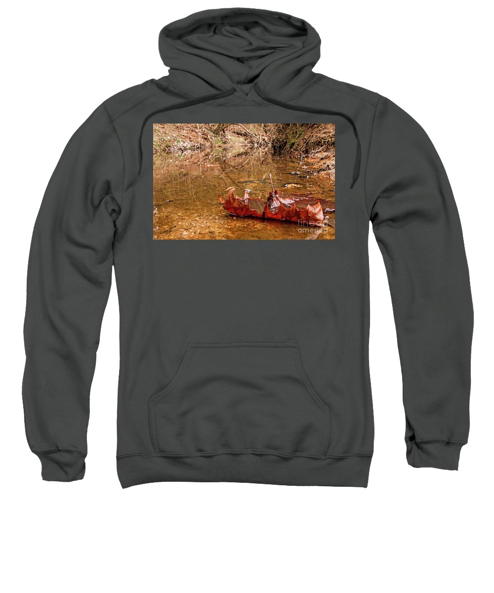 Water Sweatshirt featuring the photograph Floating Leaf by Aaron Shortt