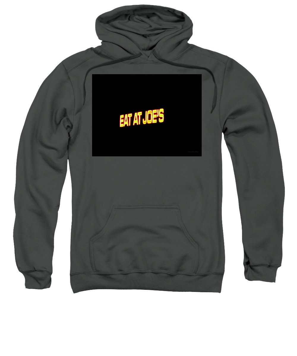 Floating Sweatshirt featuring the photograph Floating Neon - Eat At Joes by Deborah Crew-Johnson