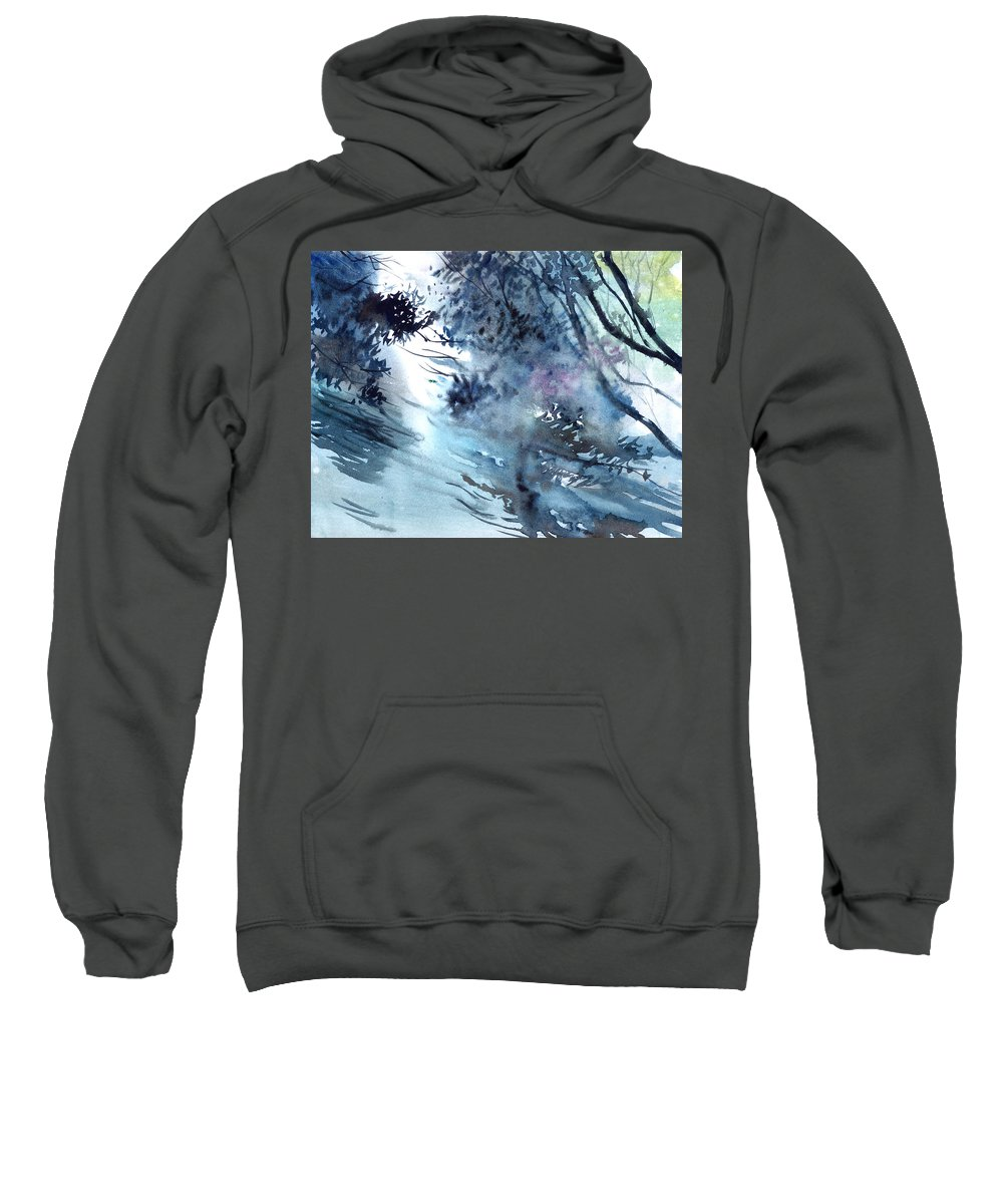 Floods Sweatshirt featuring the painting Flooding by Anil Nene