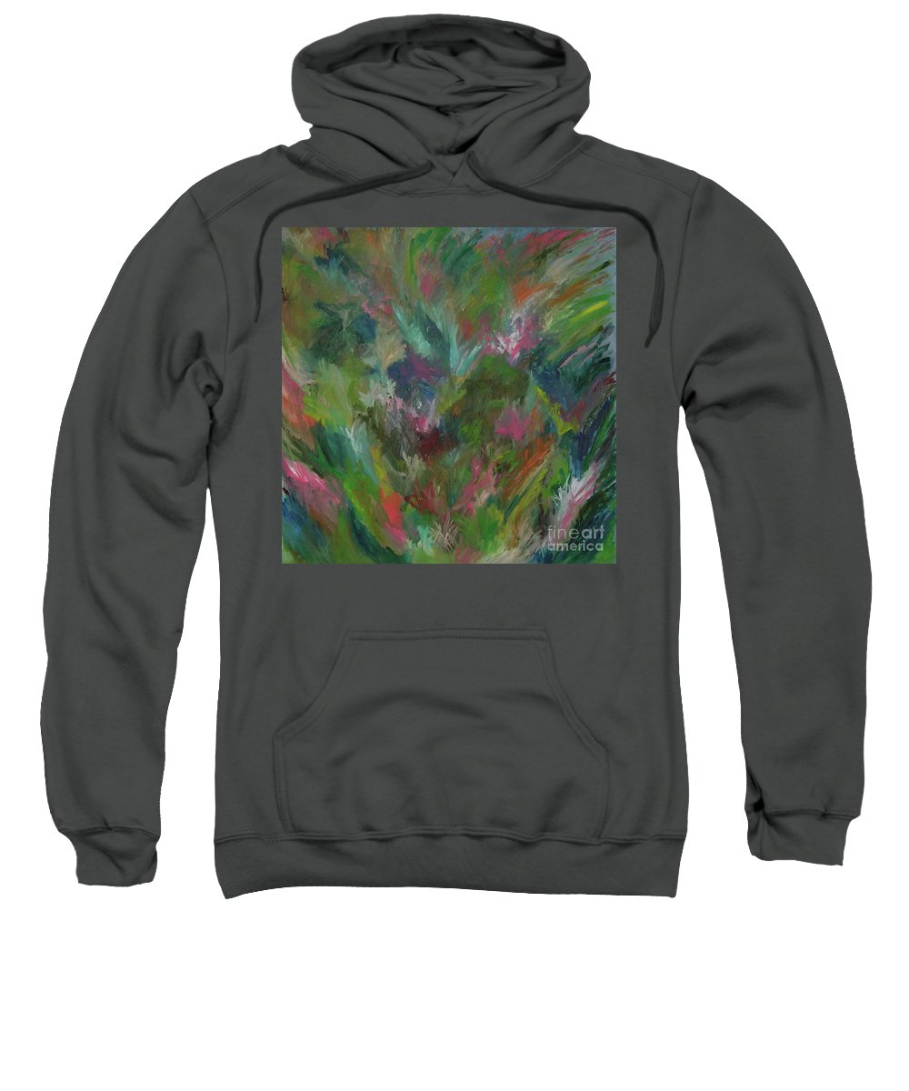 Floral Sweatshirt featuring the painting Floral Abstraction by Cori Solomon