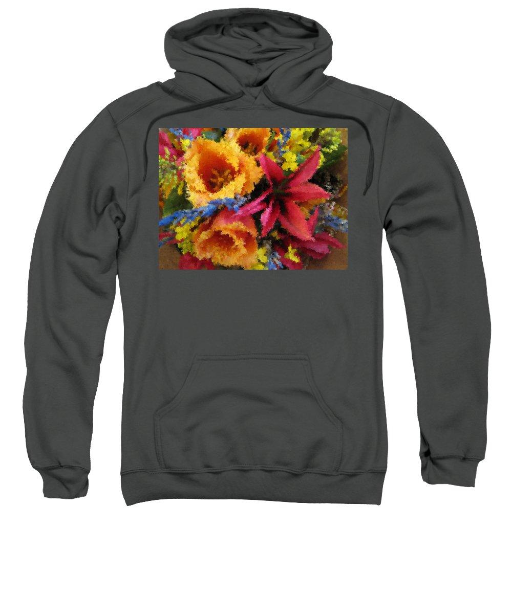 Flowers Sweatshirt featuring the digital art Floral Blast by Tim Allen