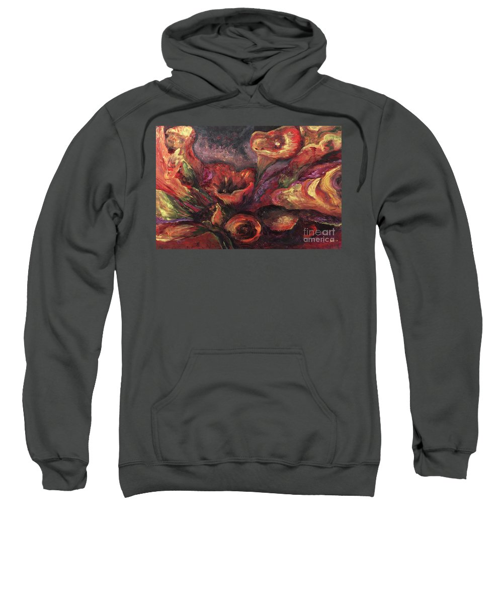 Calla Lilies Sweatshirt featuring the painting Floral Sun Worship by Nadine Rippelmeyer