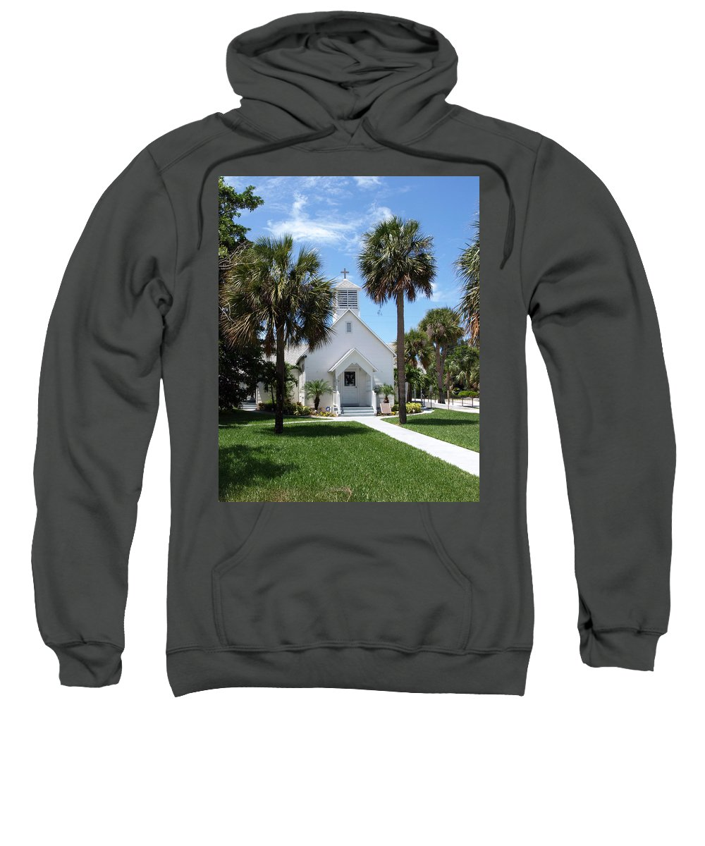 Chapel; Community; Melbourne; Beach; Florida; Melbourne Beach; Church; Congregationalist; Worship; M Sweatshirt featuring the photograph Florida Community Chapel by Allan Hughes