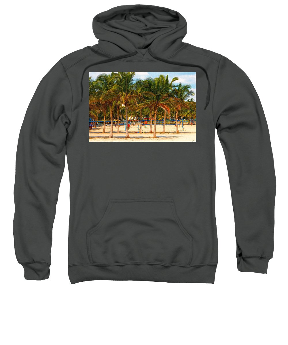 Art Sweatshirt featuring the painting Florida Style Volleyball by David Lee Thompson