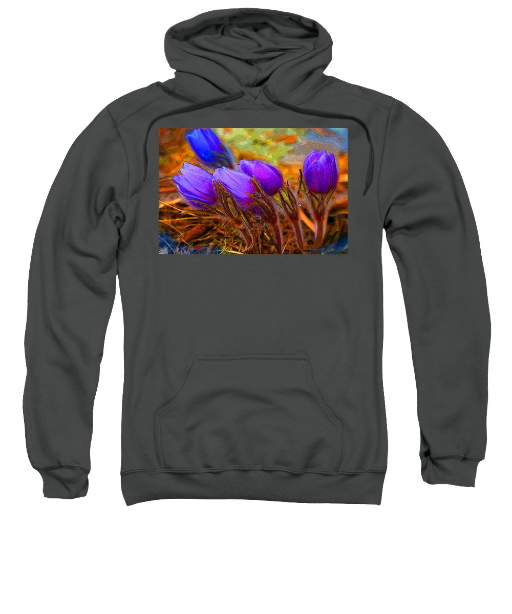 Flowers Sweatshirt featuring the photograph Flourescent Flowers by Heather Coen