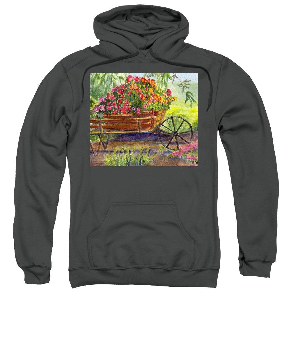 Flower Sweatshirt featuring the painting Flower Cart by Katherine Berlin