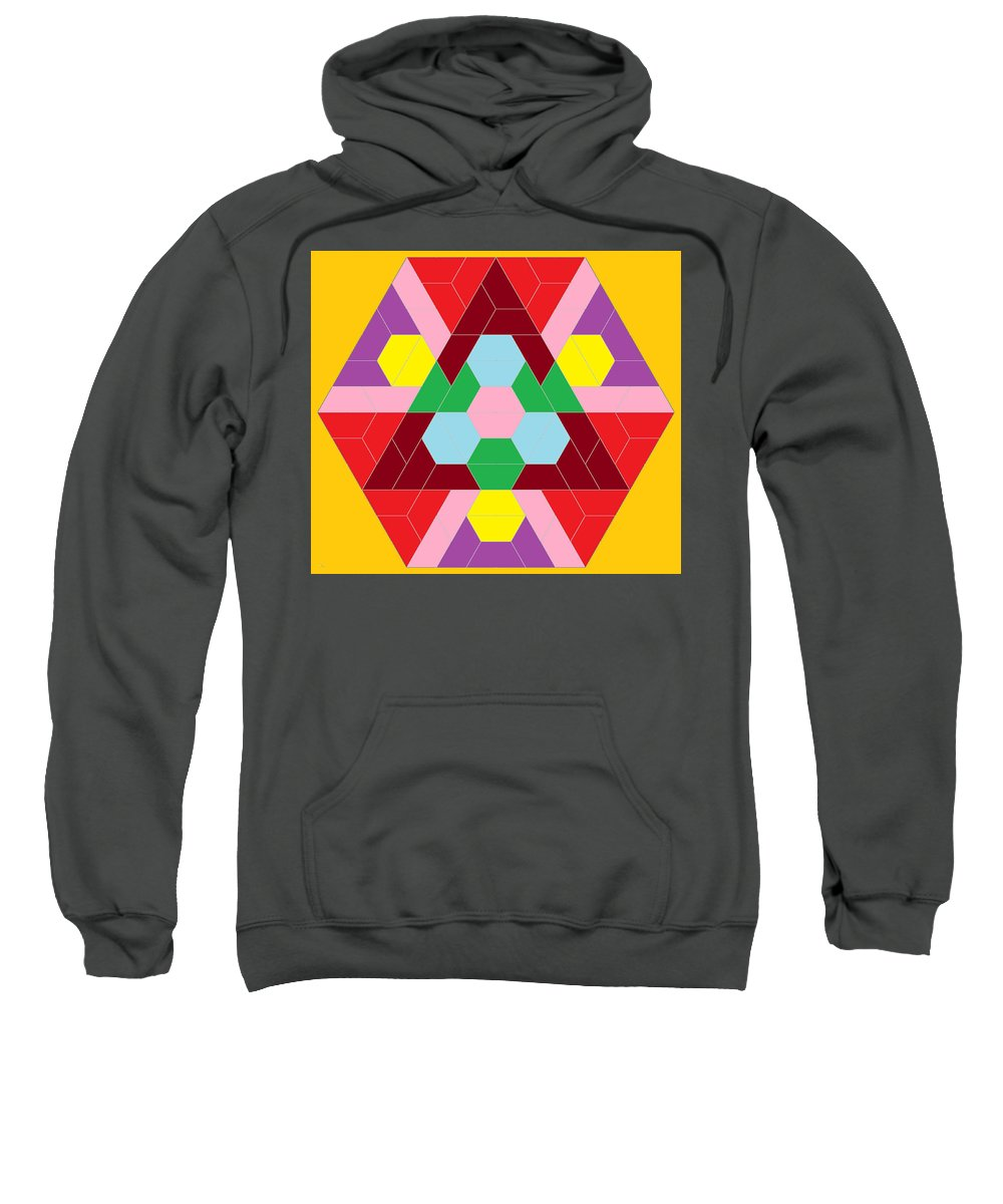 Mosaic Sweatshirt featuring the digital art Flower Face by Owen Lorion