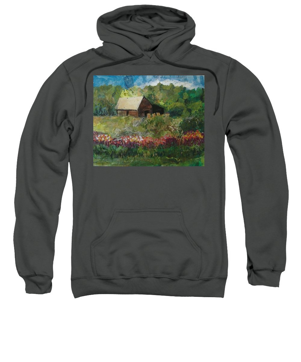 Landscape Sweatshirt featuring the mixed media Flower Farm by Pat Snook