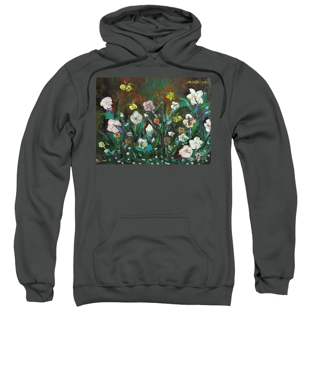Abstract Paintings Sweatshirt featuring the painting Flower Garden by Seon-Jeong Kim