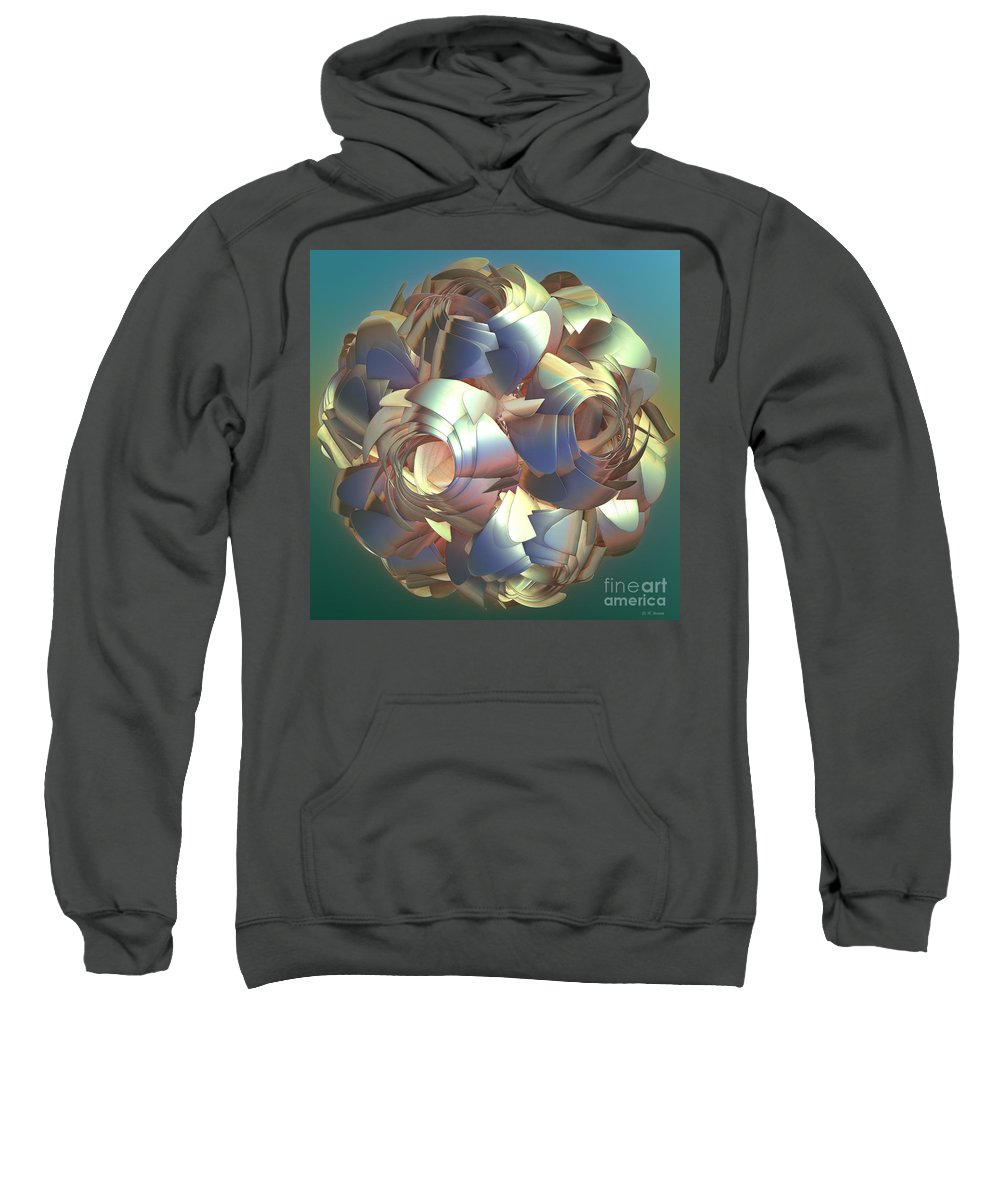 Digital Sweatshirt featuring the digital art Flower Globe by Deborah Benoit