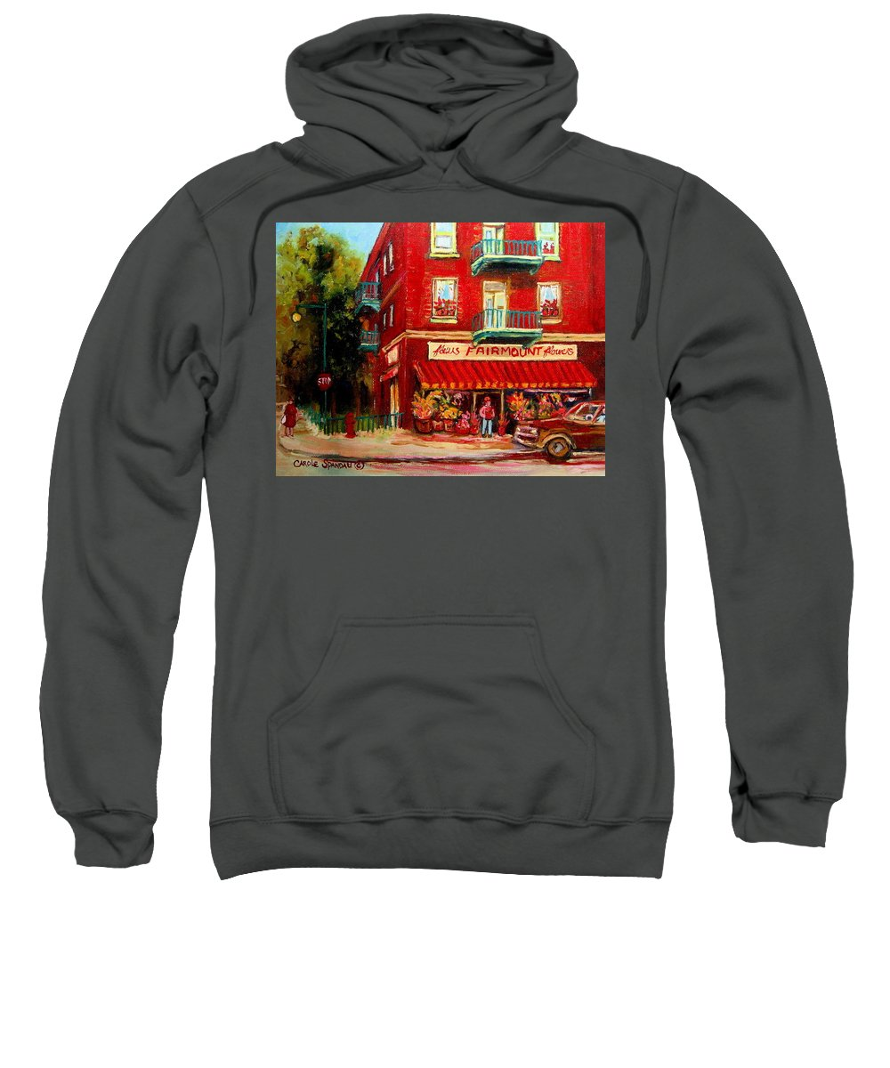 Fairmount Street Sweatshirt featuring the painting Flower Shop On The Corner by Carole Spandau