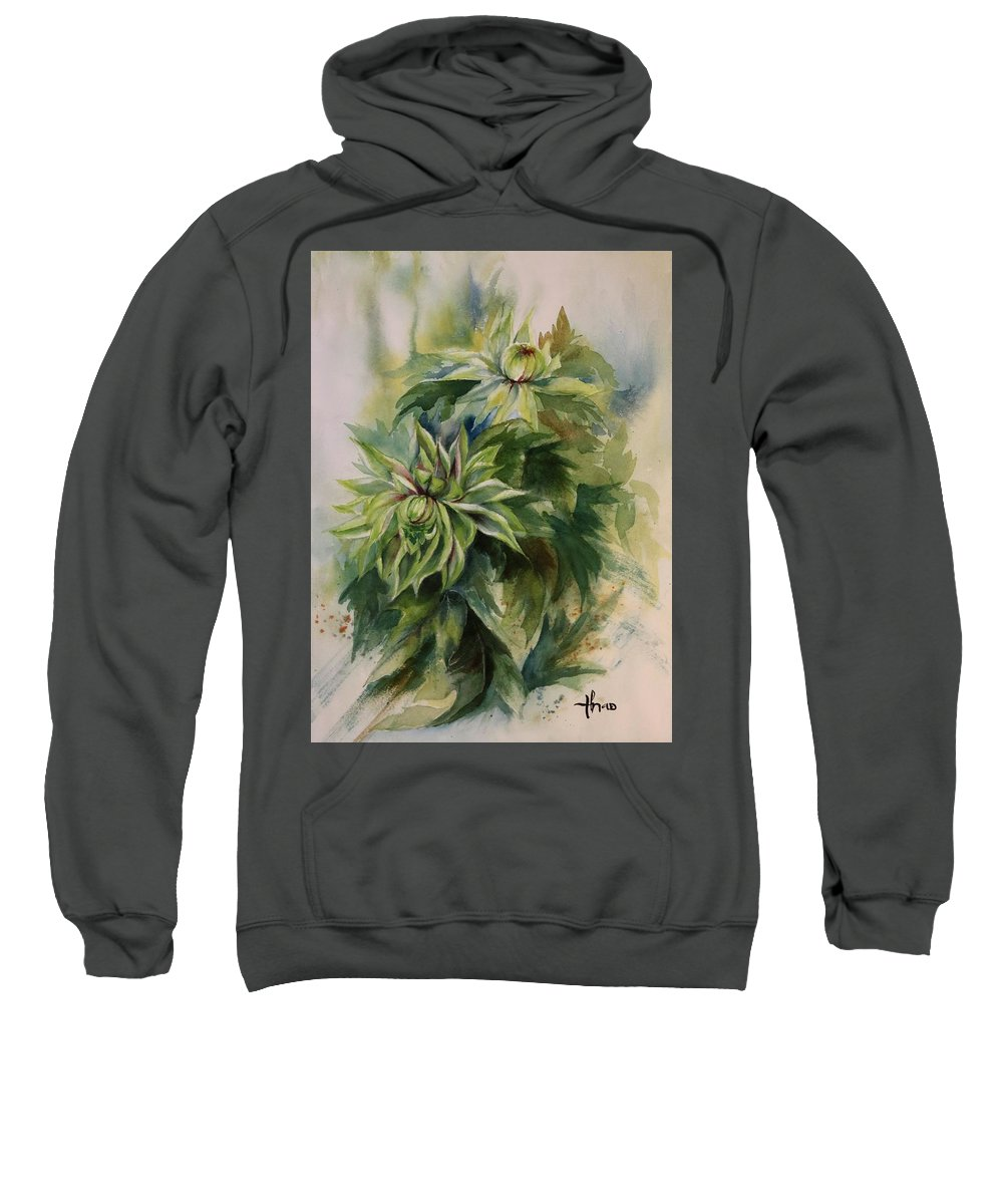 Sweatshirt featuring the painting Flower by Thao Le