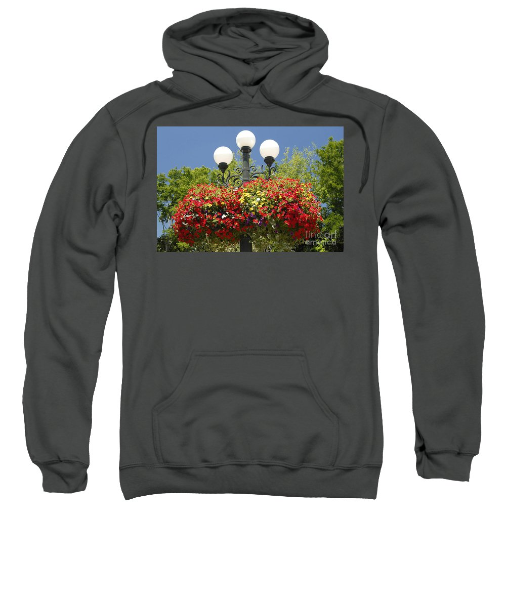 Flowers Sweatshirt featuring the photograph Flowered Lamppost by David Lee Thompson