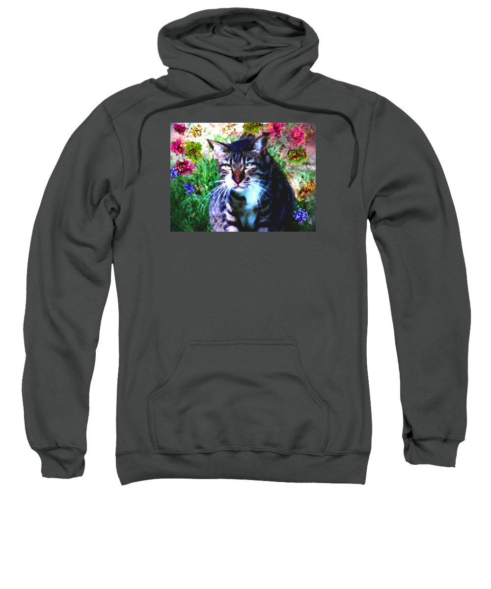 Cat Grey Attention Grass Flowers Nature Animals View Sweatshirt featuring the digital art Flowers And Cat by Dr Loifer Vladimir