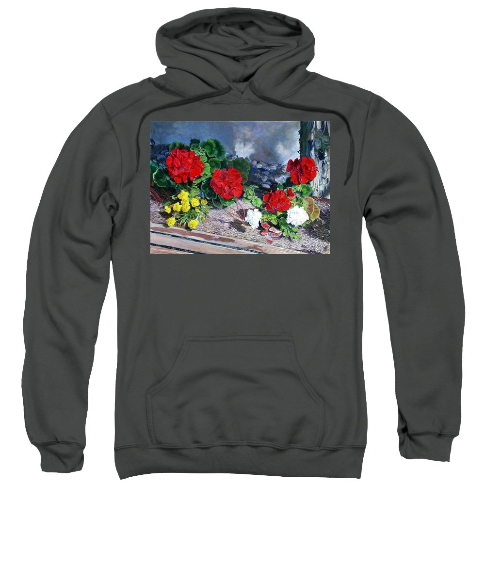 Colorful Flowers Outside Of The Church Sweatshirt featuring the painting Flowers At Church by Scott Robertson