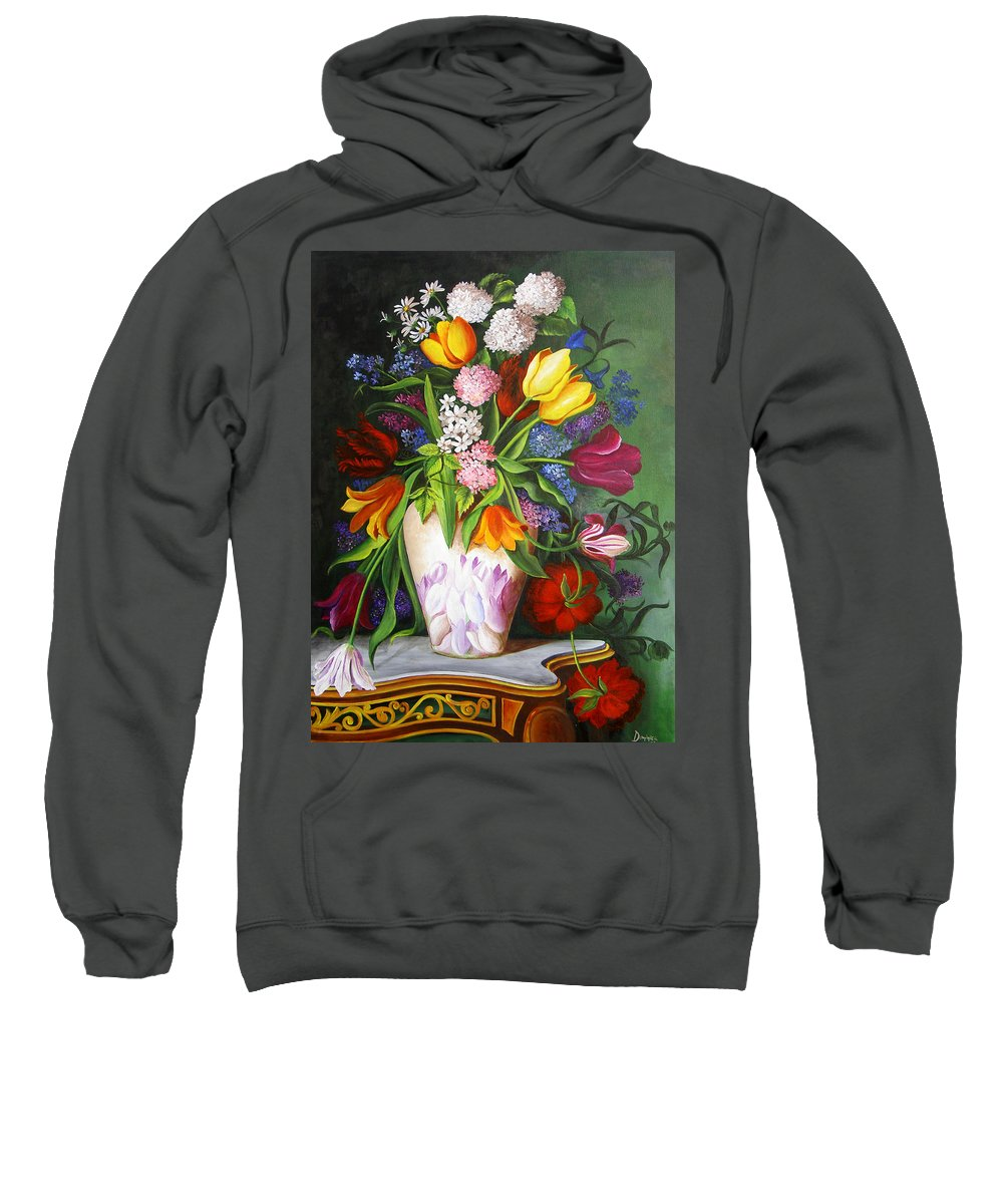 Flowers Sweatshirt featuring the painting Flowers In A Vase by Dominica Alcantara