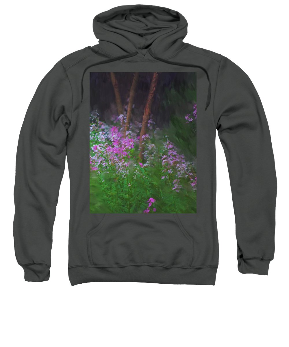 Landscape Sweatshirt featuring the painting Flowers In The Woods by David Lane