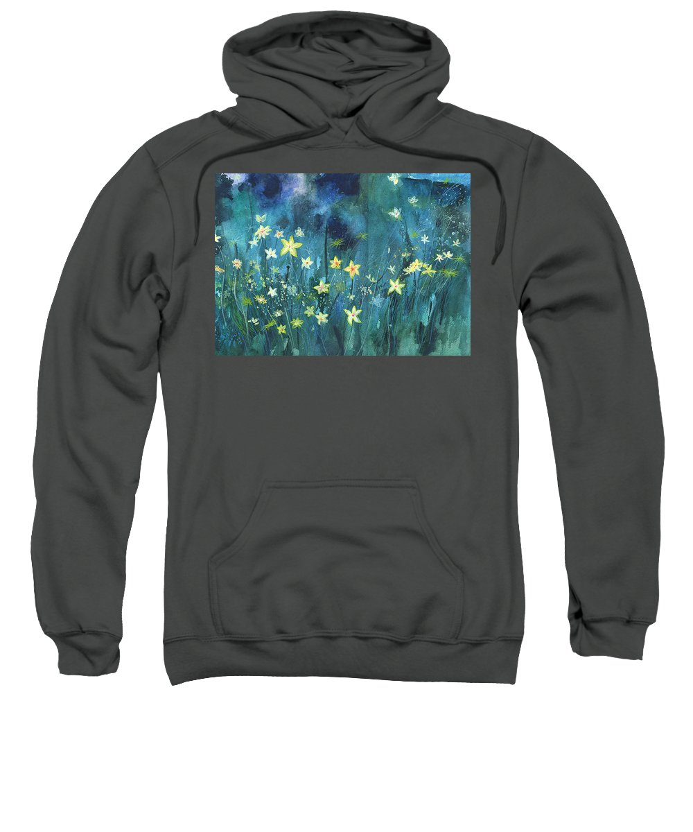 Landscape Sweatshirt featuring the painting Flowers N Breeze by Anil Nene