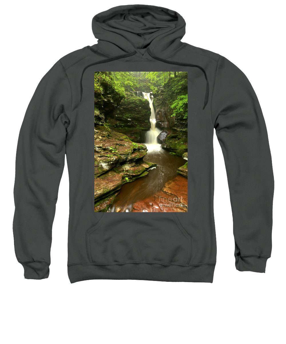 Adams Falls Sweatshirt featuring the photograph Flowing Toward The Red Rocks by Adam Jewell