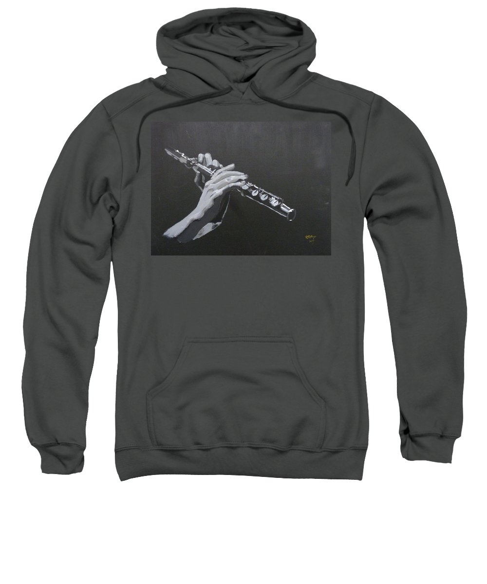 Flute Sweatshirt featuring the painting Flute Hands by Richard Le Page