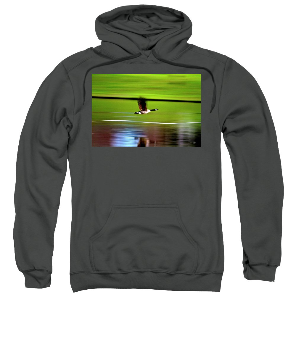 Goose Sweatshirt featuring the photograph Fly-by by Scott Pellegrin