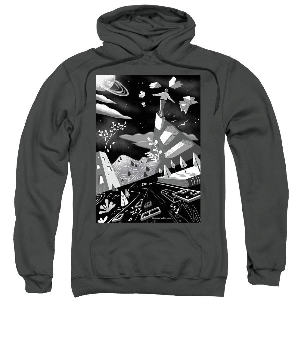 Illustration Sweatshirt featuring the digital art Fly High by Elin Lynn