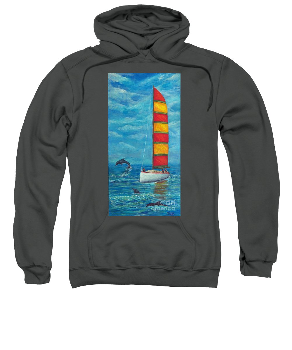 Sail Sweatshirt featuring the painting Flying Dolphin by Alina Martinez-beatriz