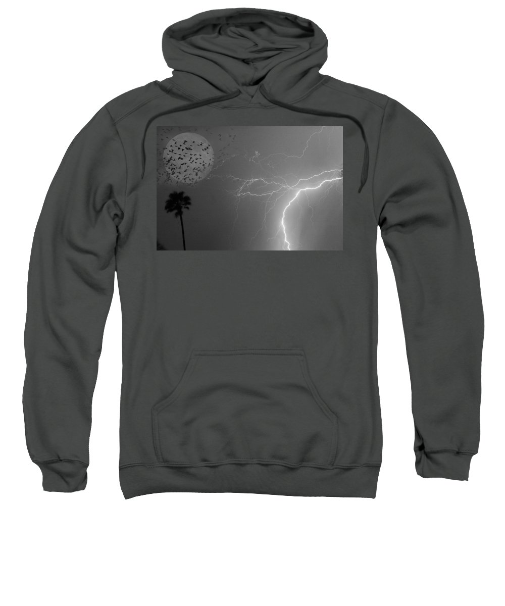 Black And White Sweatshirt featuring the photograph Flying From The Storm Bw by James BO Insogna