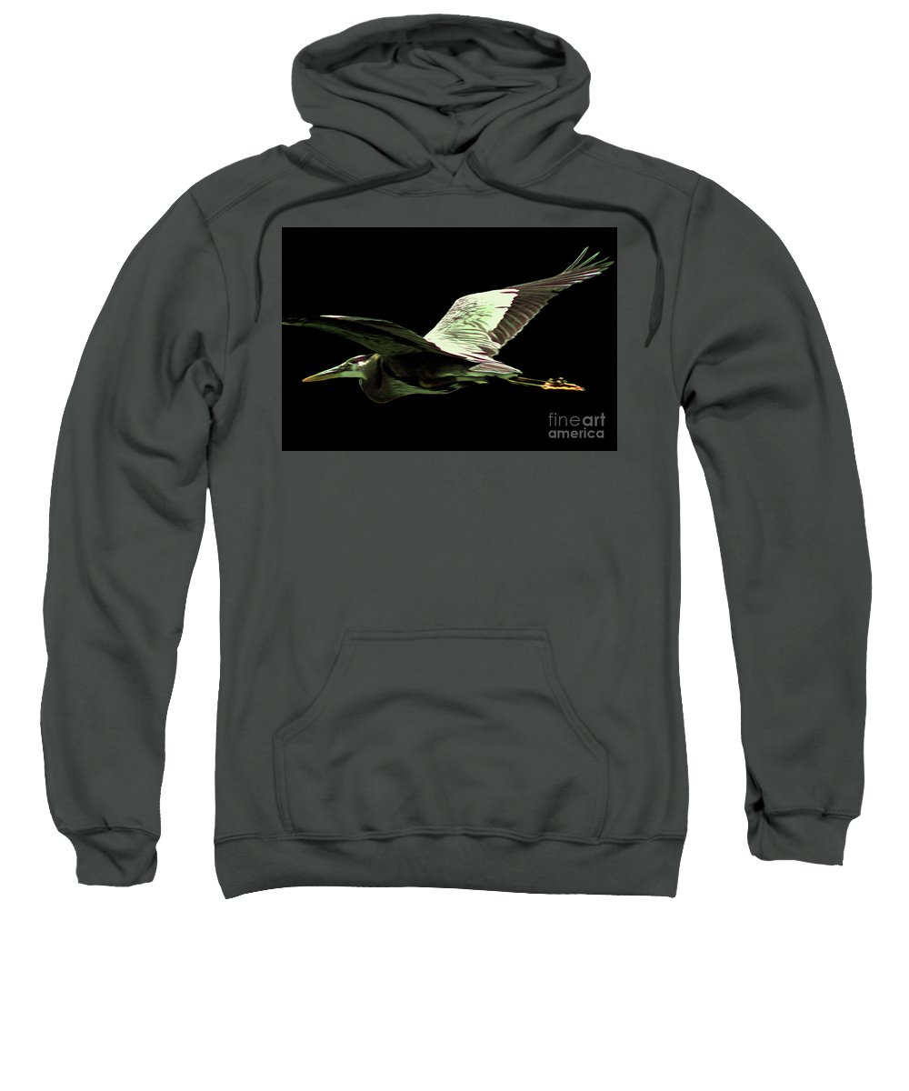 Heron Sweatshirt featuring the photograph Flying Heron With Black Background by Laura Birr Brown