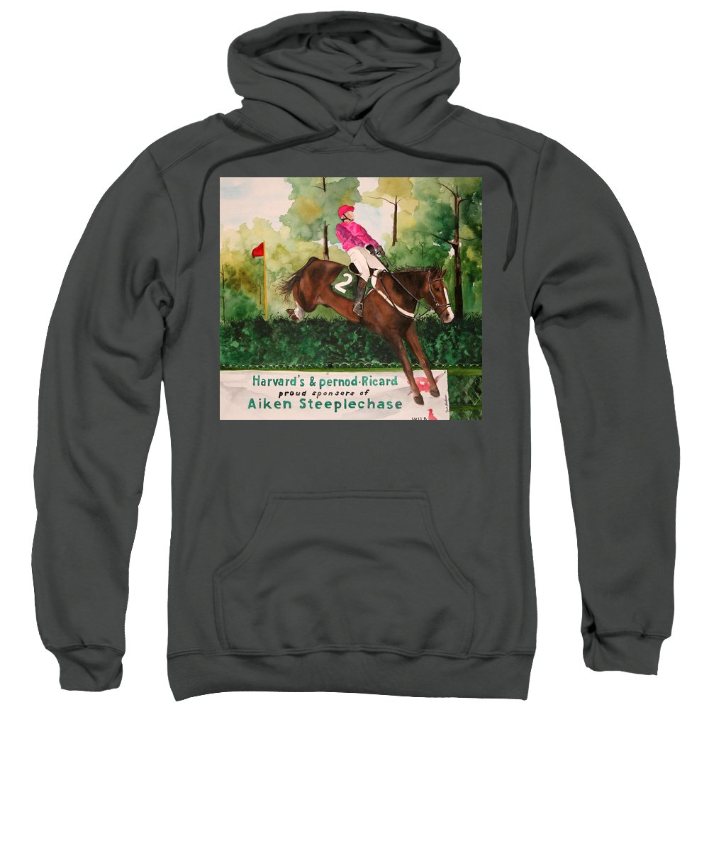 Horse Sweatshirt featuring the painting Flying High by Jean Blackmer