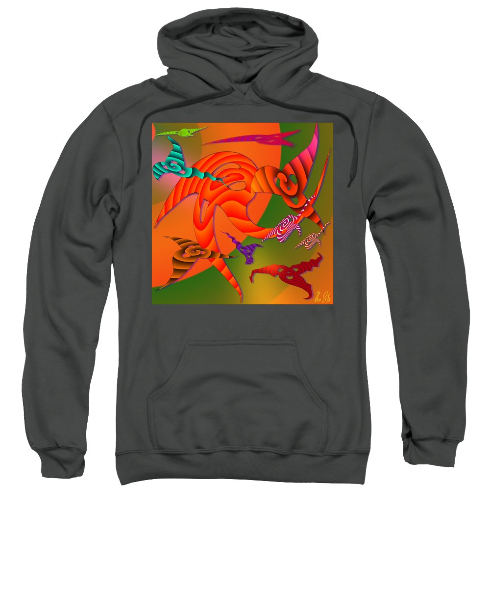 Triangles Sweatshirt featuring the digital art Flying Triangles by Helmut Rottler