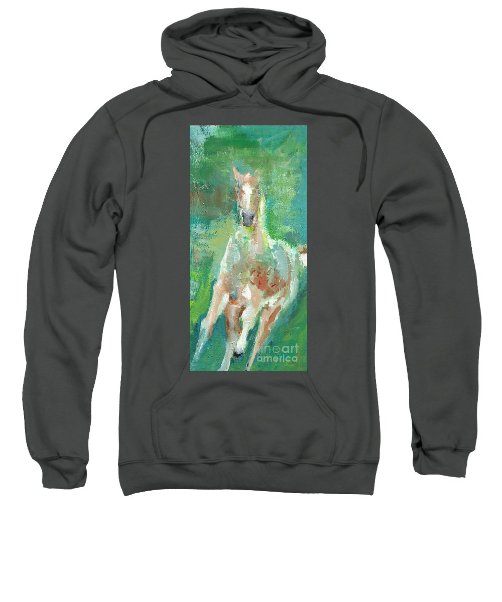 Horse Sweatshirt featuring the painting Foal With Shades Of Green by Frances Marino