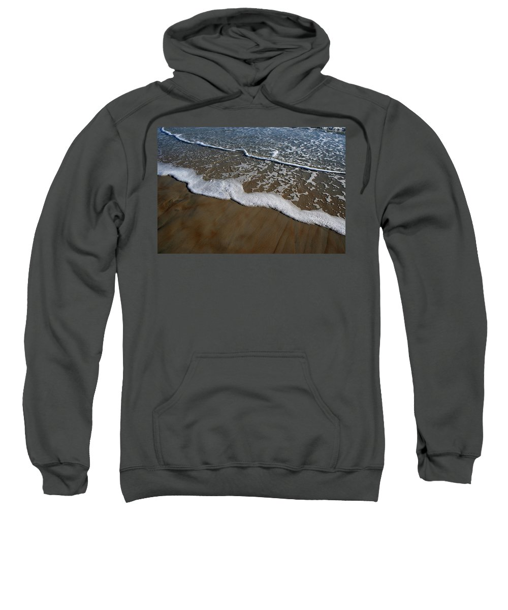 Beach Sand Wave Waves Foam Foamy White Sunny Clear Water Ocean Sweatshirt featuring the photograph Foamy Water by Andrei Shliakhau