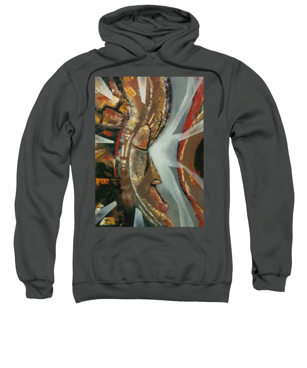 African Mask Sweatshirt featuring the painting Focus And Determination by Hasaan Kirkland