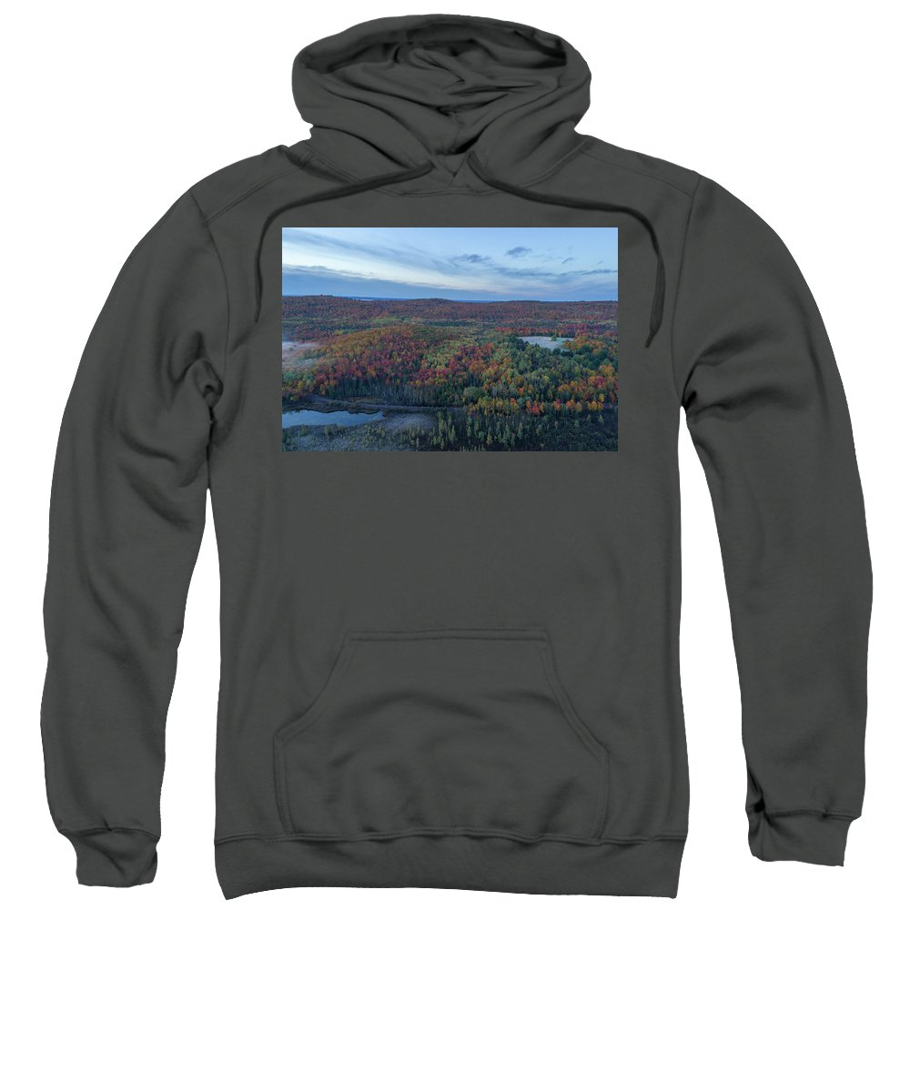 Marquette Sweatshirt featuring the digital art Fog And Fall Colors by Bradley J Nelson