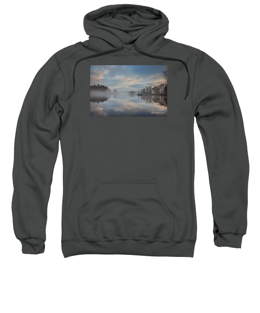 Great Pond Sweatshirt featuring the photograph Foggy Sunrise At Great Pond 4 by Jim Hayes