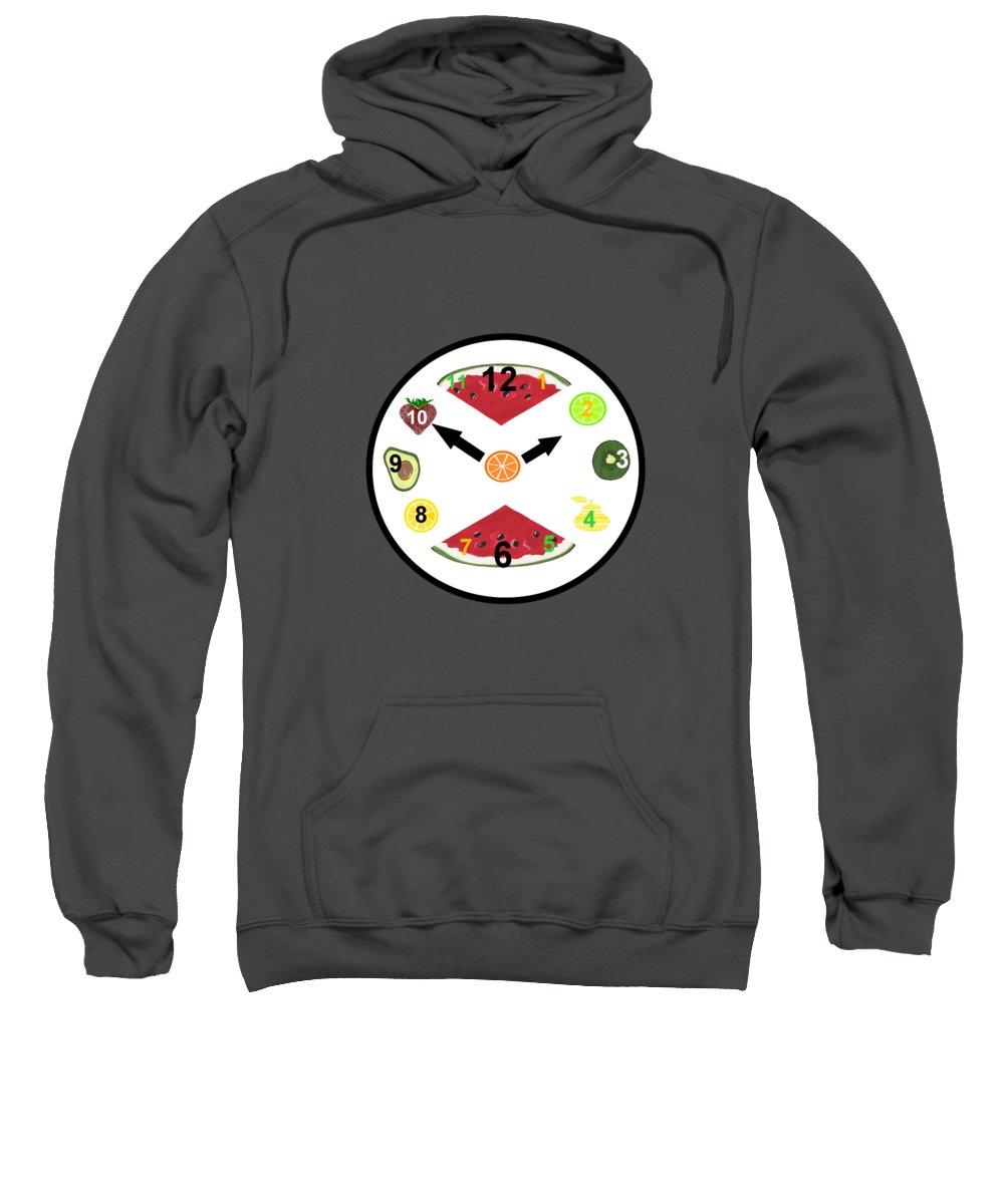 Food Art Sweatshirt featuring the painting Food Clock by Kathleen Sartoris