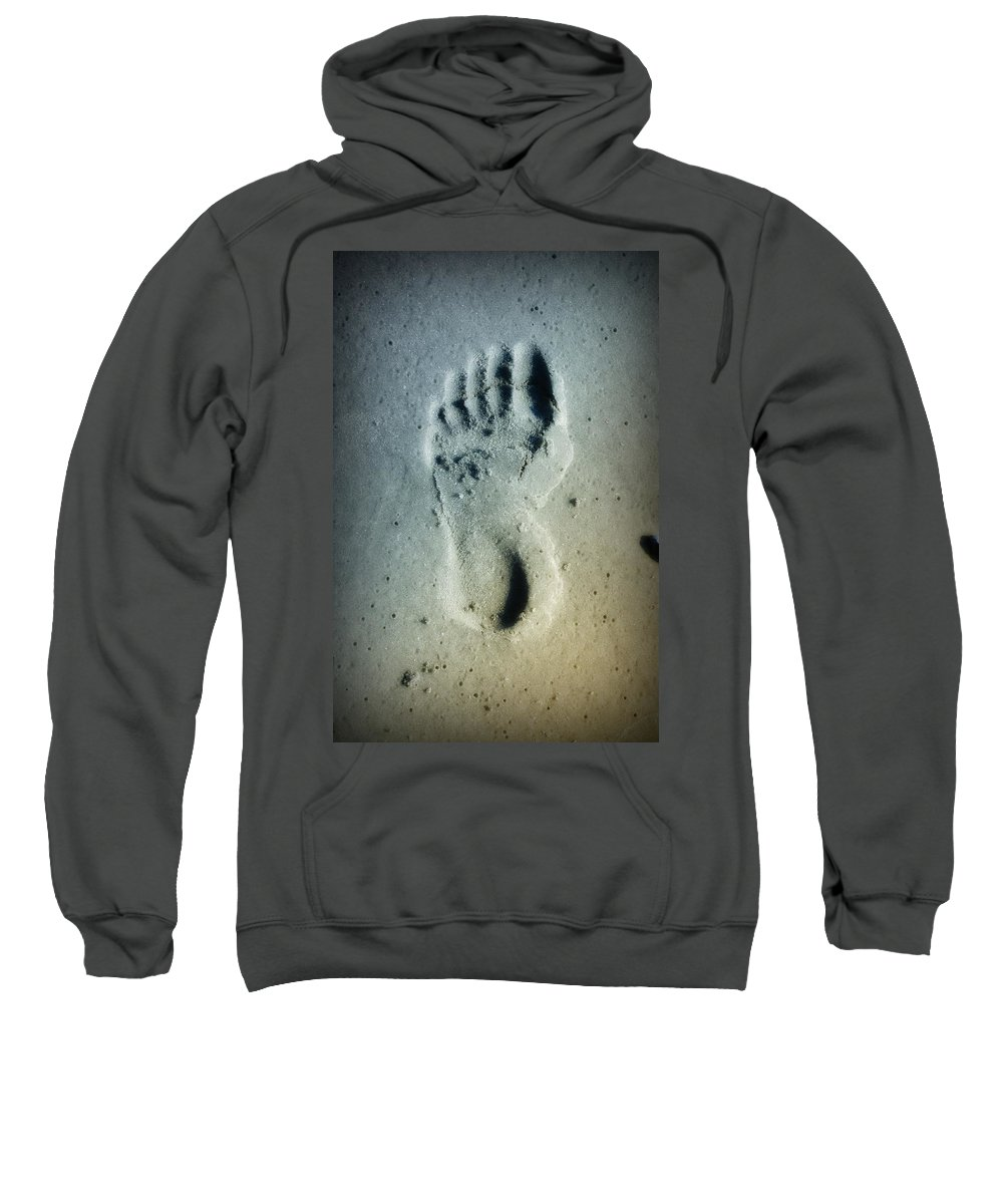 Foot Print Sweatshirt featuring the photograph Foot Print In The Sand by Bill Cannon