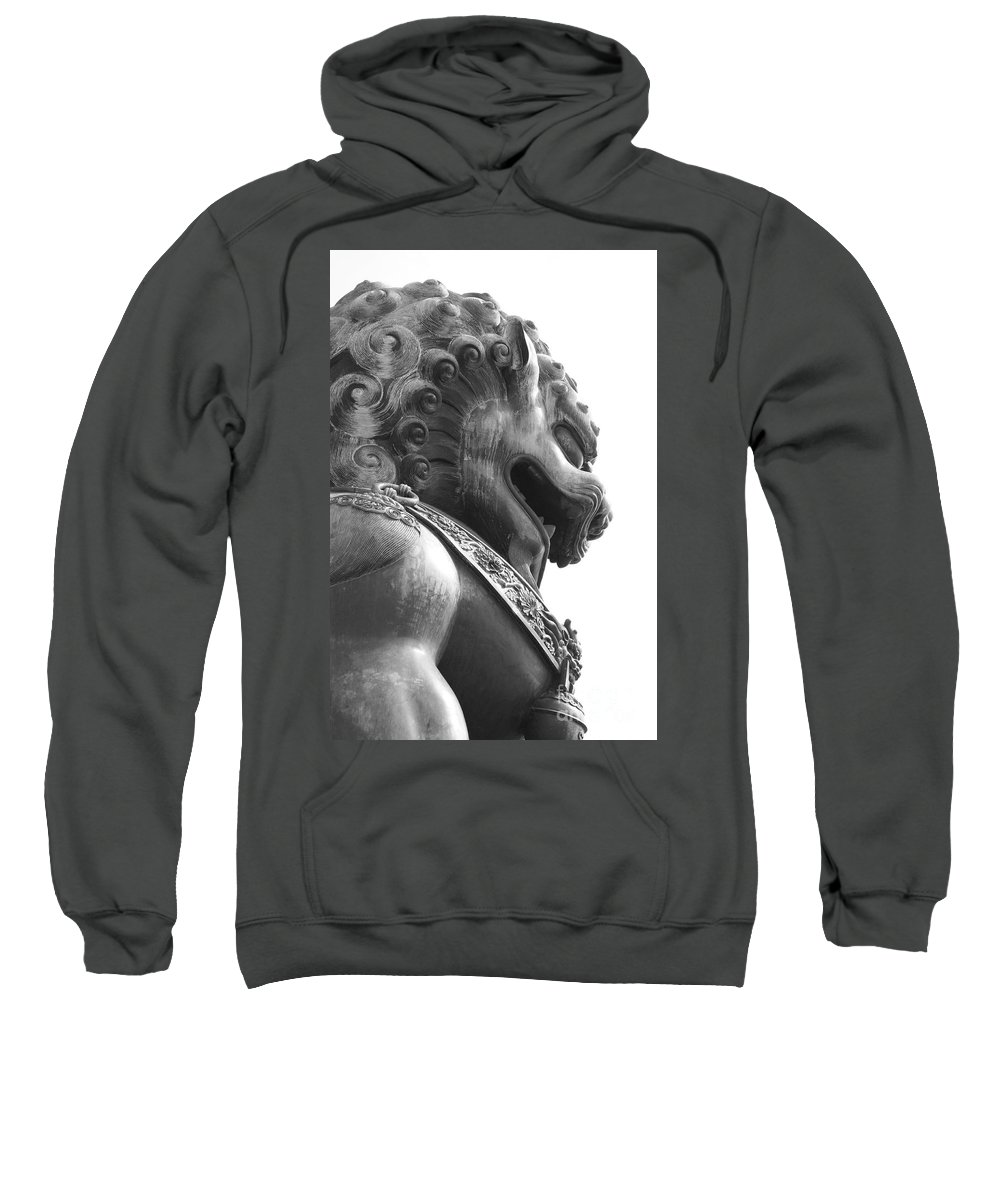 China Sweatshirt featuring the photograph Forbidden City Lion - Black And White by Carol Groenen